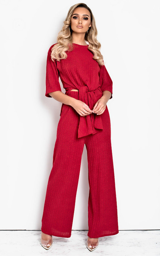 Bea Tie Front Ribbed Lounge Co-ord