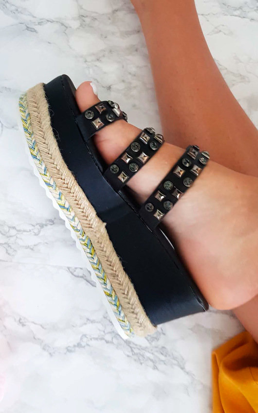 Beatrice Braided Studded Wedged Sandals