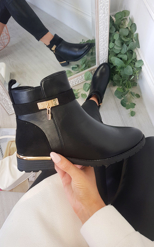 Beatrix Patent Padlock Ankle Boots