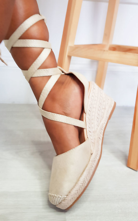 Bebe Faux Suede Lace Up Espadrille Wedges