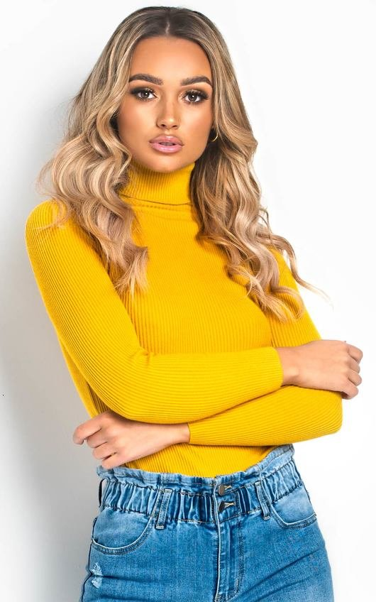 Bec Roll Neck Knitted Ribbed Jumper