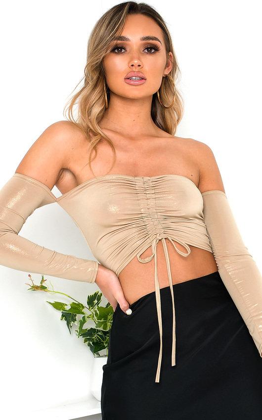 Bec Ruched Bardot Metallic Crop Top