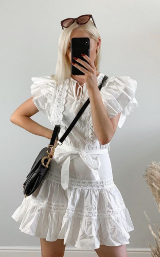 Becca Embroidered Frill Dress