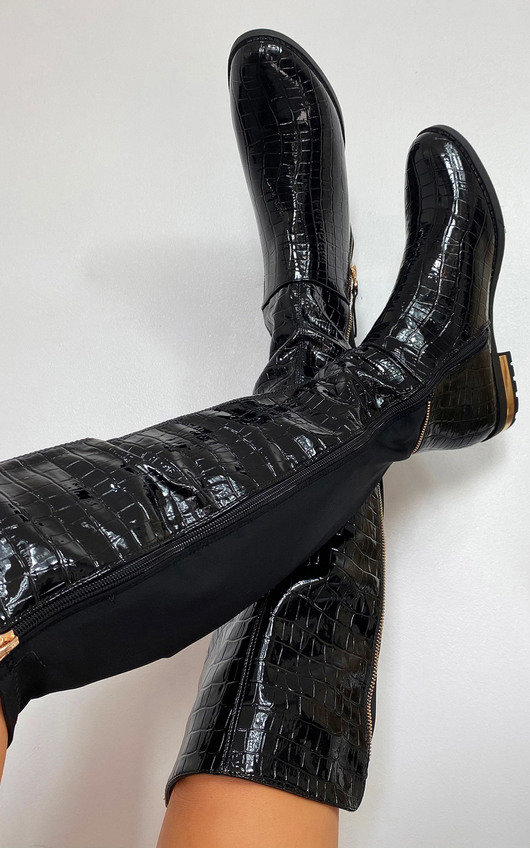 Becca Faux Leather Croc Print Knee High Boots
