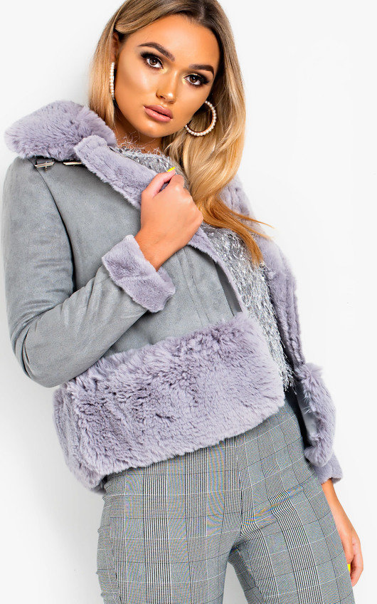 Becci Biker Faux Suede Fur Jacket