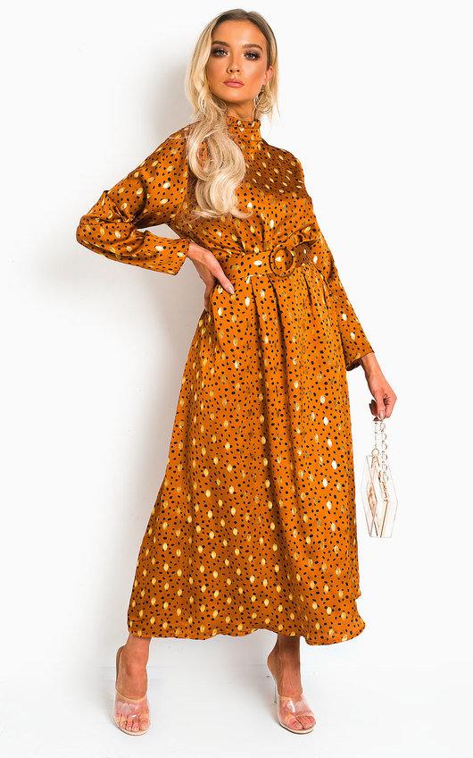 Becki Polka Dot Belted Maxi Dress
