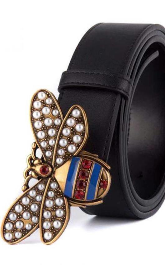 Bee Embellished Faux Leather Belt