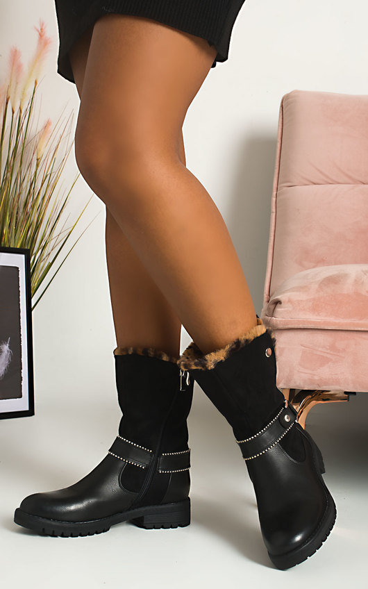 Bell Faux Fur Buckle Boots