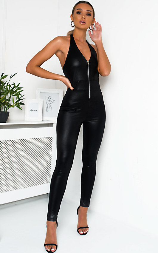e8ca800e1 Bella Faux Leather Zip Up Jumpsuit in Black p | ikrush