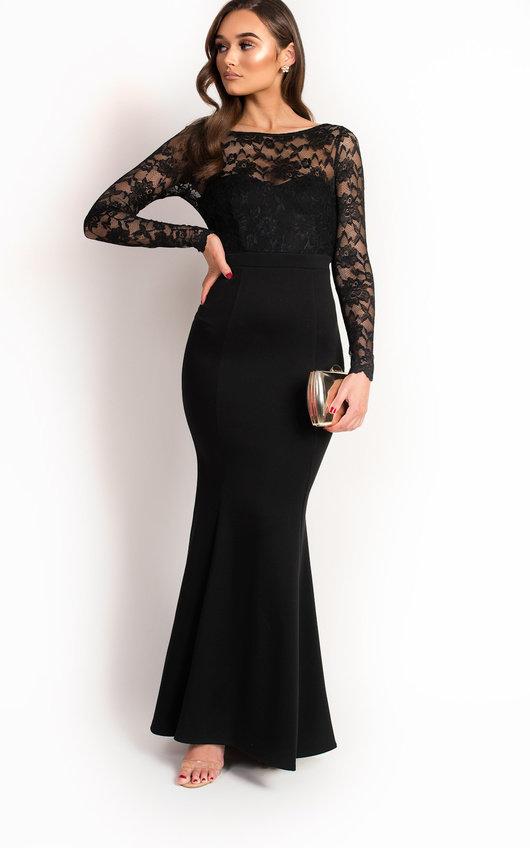 Bella Lace Fishtail Maxi Dress