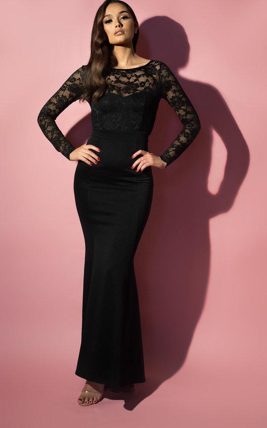 398a529a61c Bella Lace Fishtail Maxi Dress in Black