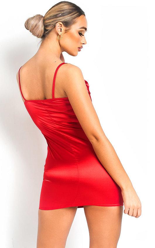 6d371b04029f Belle Square Neckline Satin Mini Dress in Red | ikrush