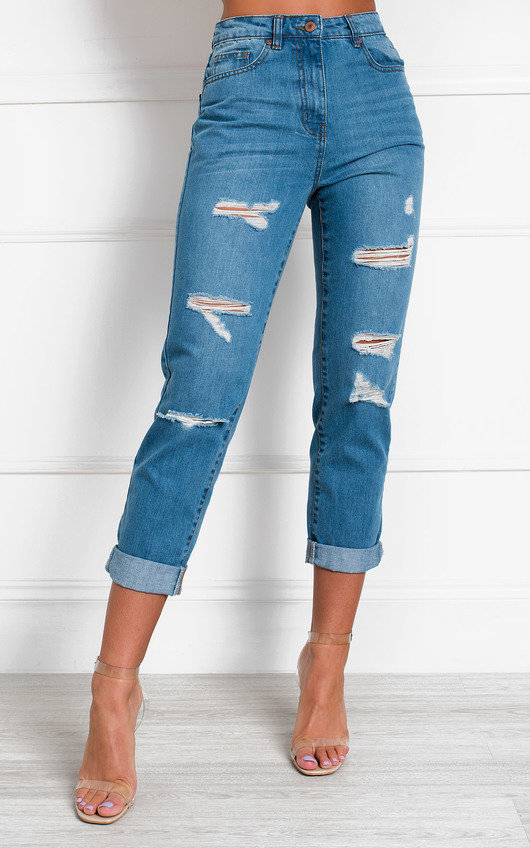 Benji Distressed Straight Leg Jeans