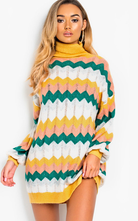 a7338619b53 Berni Polo Neck Knitted Jumper Dress in Green