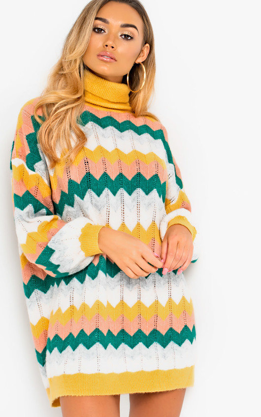 Berni Polo Neck Knitted Jumper Dress