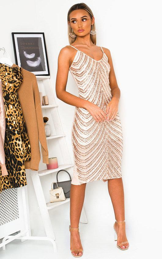 Beth Sequin Embellished Midi Dress