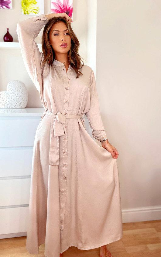Bethany Button Up Satin Maxi Dress