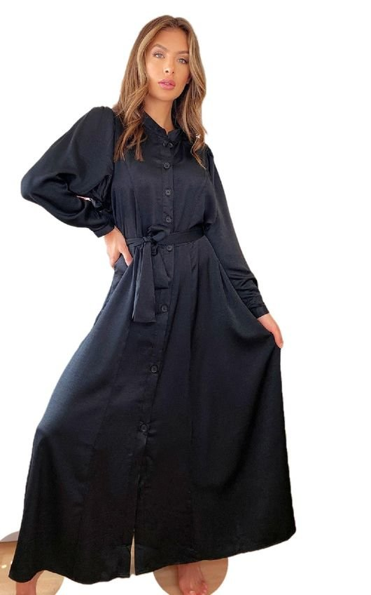 Bethany Button Up Satin Maxi Dress
