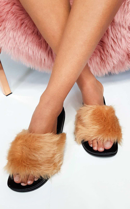 Bethany Faux Fur Sliders