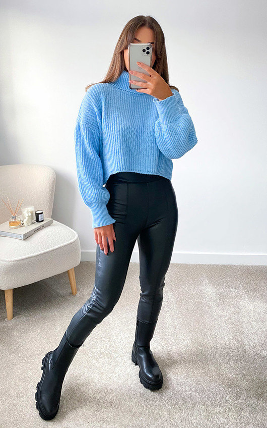 Betsy High Neck Knitted Cropped Jumper