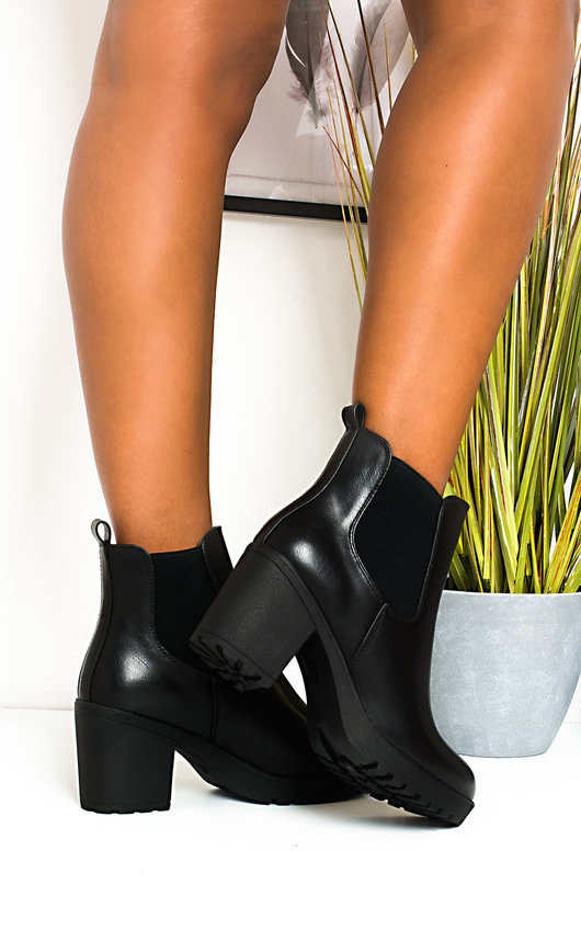 Betty Faux Leather Chunky Heel Boots