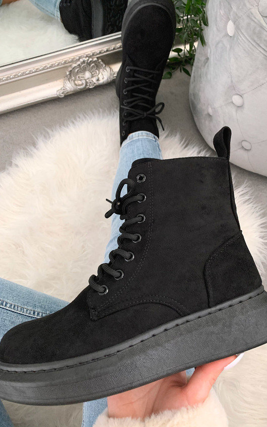 Betty Faux Suede Lace Up Boots