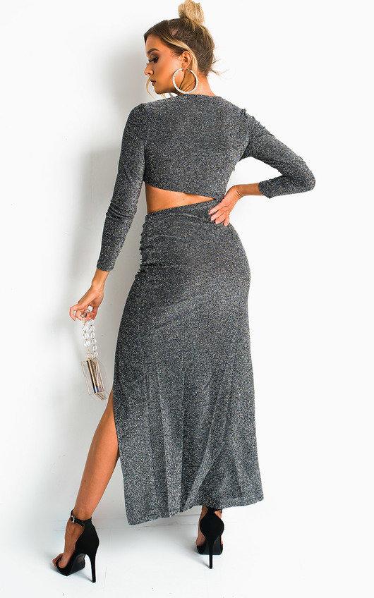 Bev Cut Out Shimmer Midi Dress