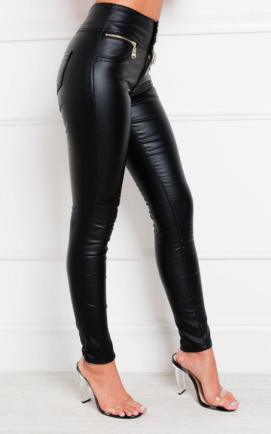 Bex High Waisted Faux Leather Trousers