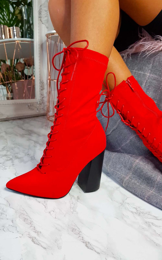 9d454e81ec9b2 Bexley Stretch Lace Up Ankle Boots in Red | ikrush