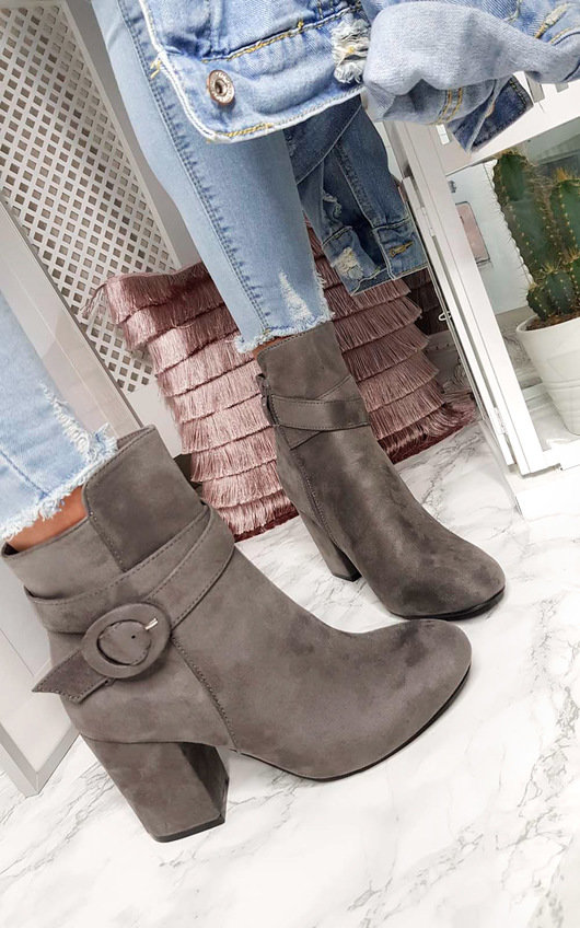 Bianca Buckle Faux Suede Ankle Boots