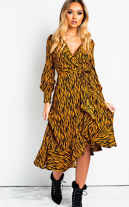 Bianca Printed Maxi Frill Dress
