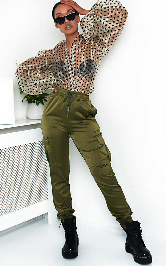 Billie Cuffed Satin Cargo Trousers