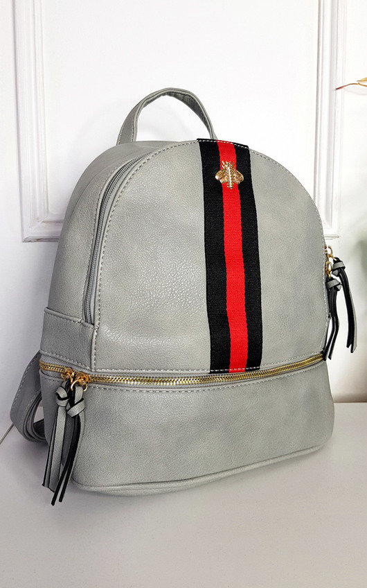 Blair Faux Leather Backpack with Stripe Detail