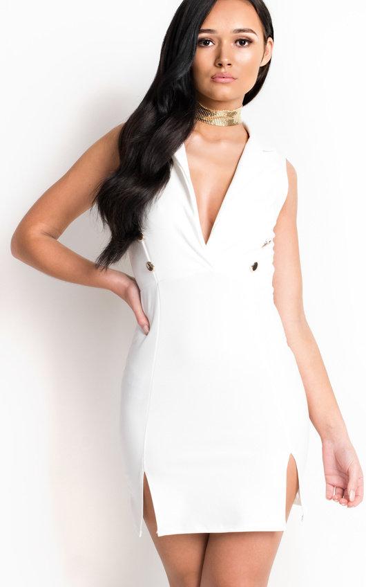 1987655d3ce0 Blake Gold Button Blazer Dress in White | ikrush