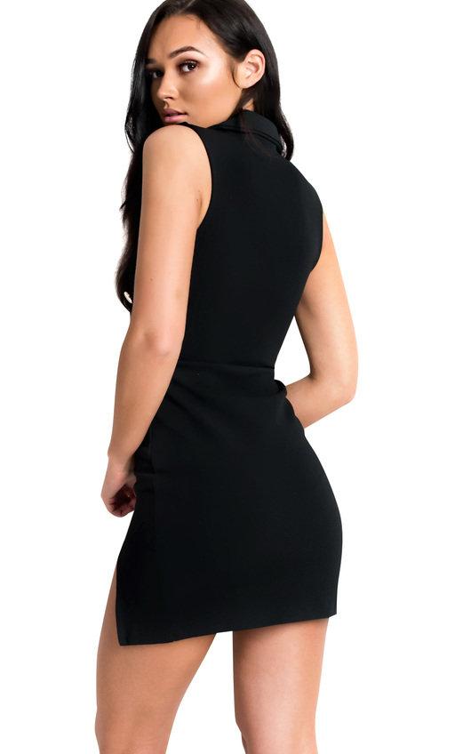dc9835ec796b Blake Gold Button Blazer Dress in Black | ikrush