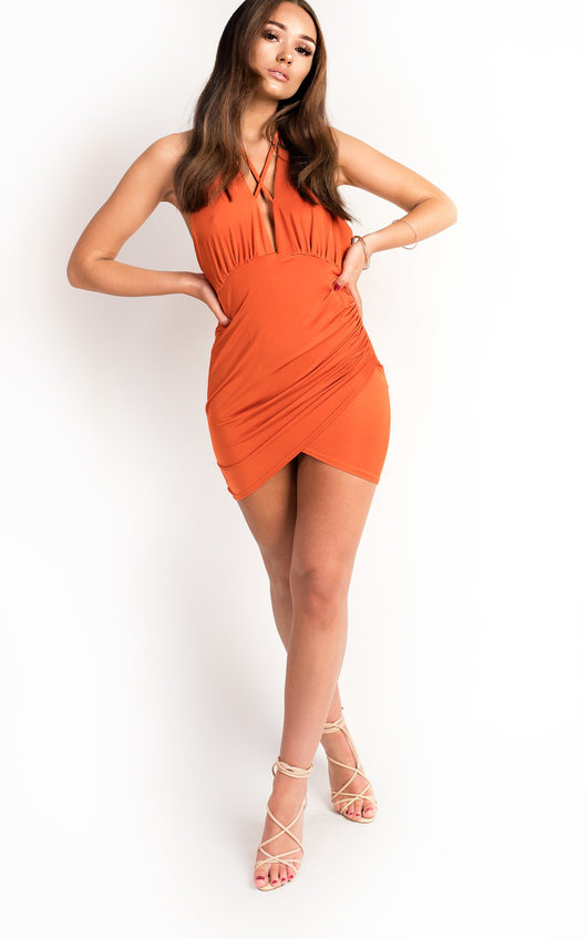 448c2f35999c Blake Slinky Backless Bodycon Dress in Orange | ikrush