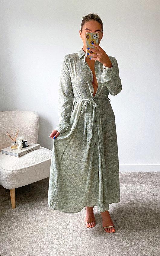 Brandi Button Up Tie Waist Maxi Shirt Dress
