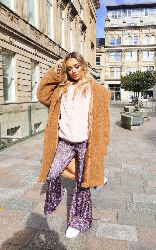 Brea High Waist Leopard Print Flare Trousers