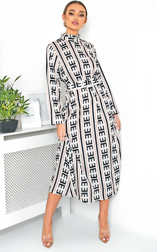 Breana Belted Print Maxi Dress