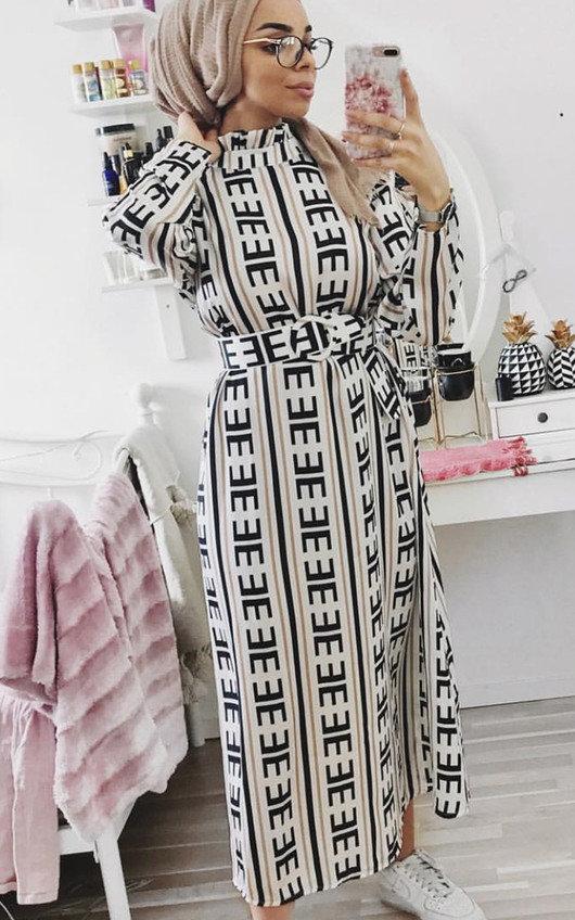 Breana Belted Print Maxi Dress
