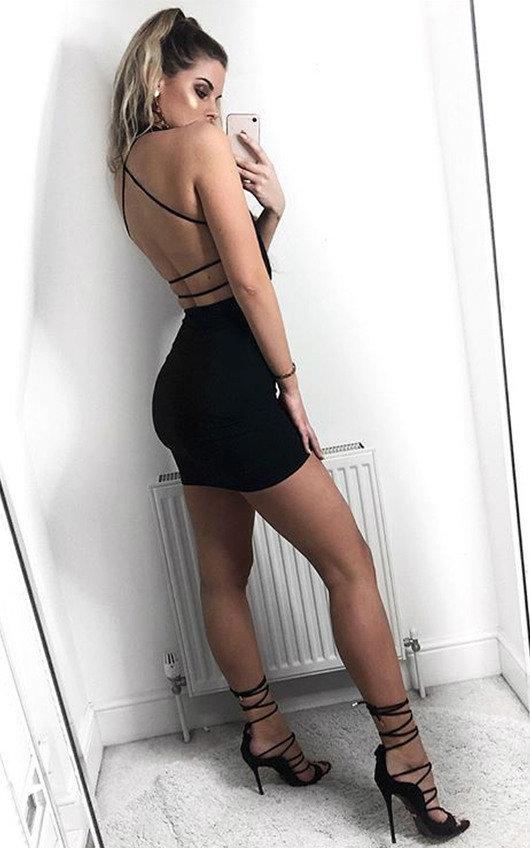634c8272d6f2 Brendi Slinky Backless Bodycon Dress in Black | ikrush