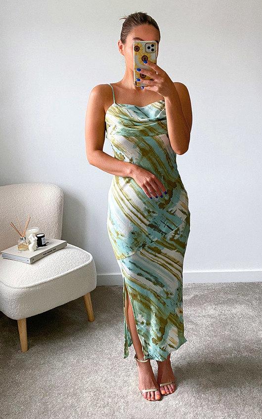 Cairo Scoop Neck Midi Printed Dress