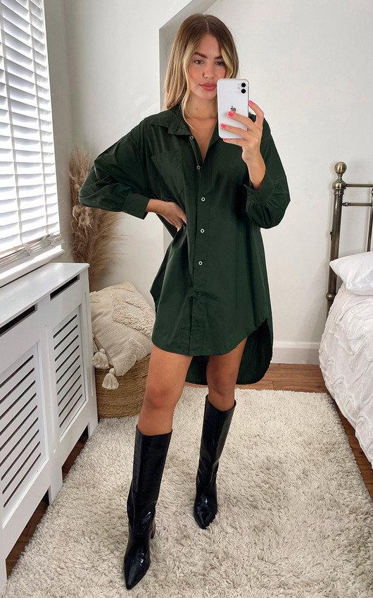 Caitlin Drop Hem Oversized Shirt Dress