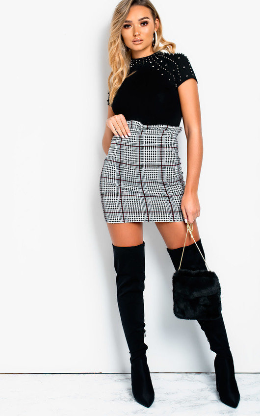 2cc21a6510 Calla Paperbag Check Skirt in Check | ikrush