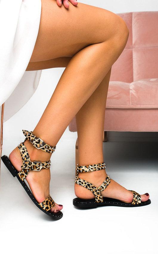 Callie Double Buckle Studded Sandals