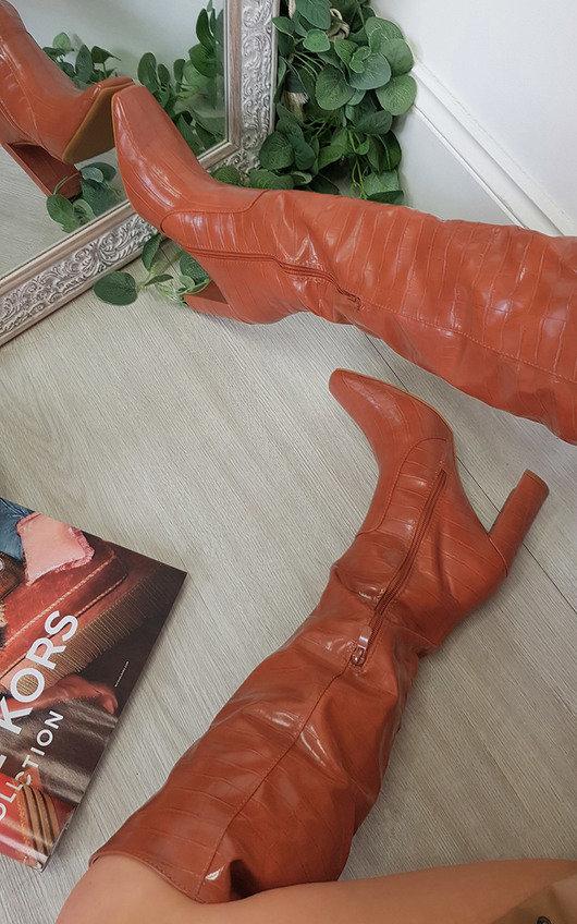 Cally Croc Print Knee Length High Heeled Boots