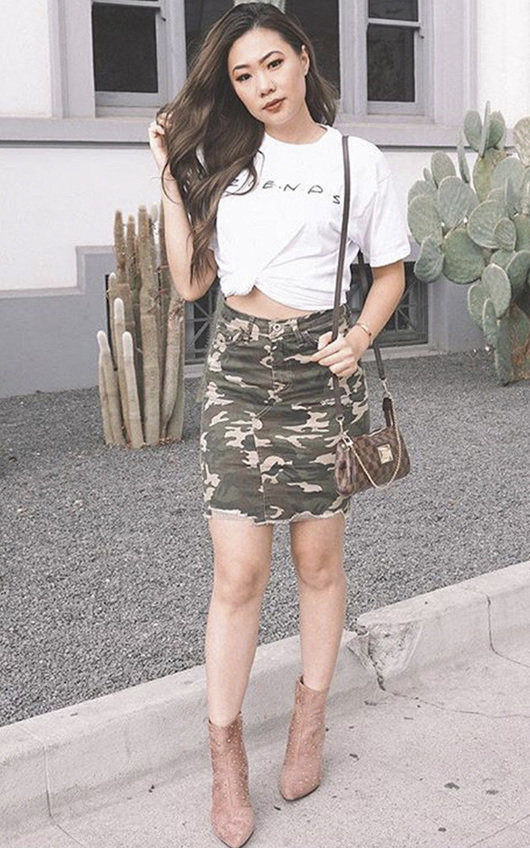 Candice Camo Denim Frayed Skirt