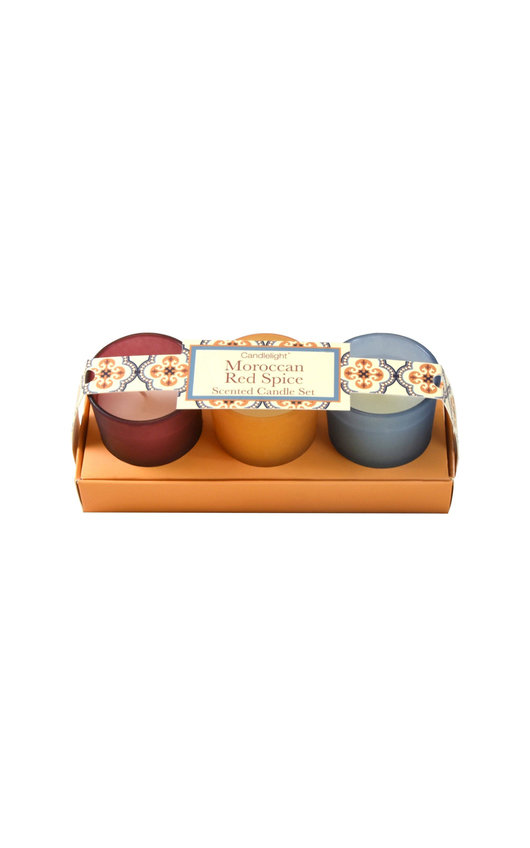 Candlelight Moroccan Red Spice Mini Votive Scented Candle Set