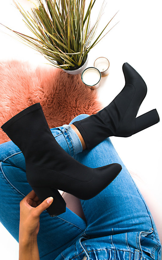 Cara Lycra Block Heeled Ankle Boots