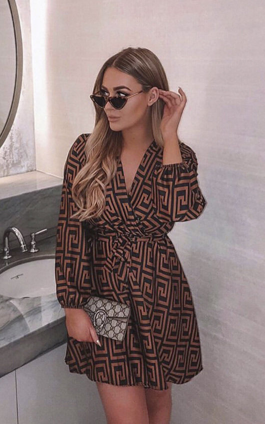Cara Printed Wrap Dress